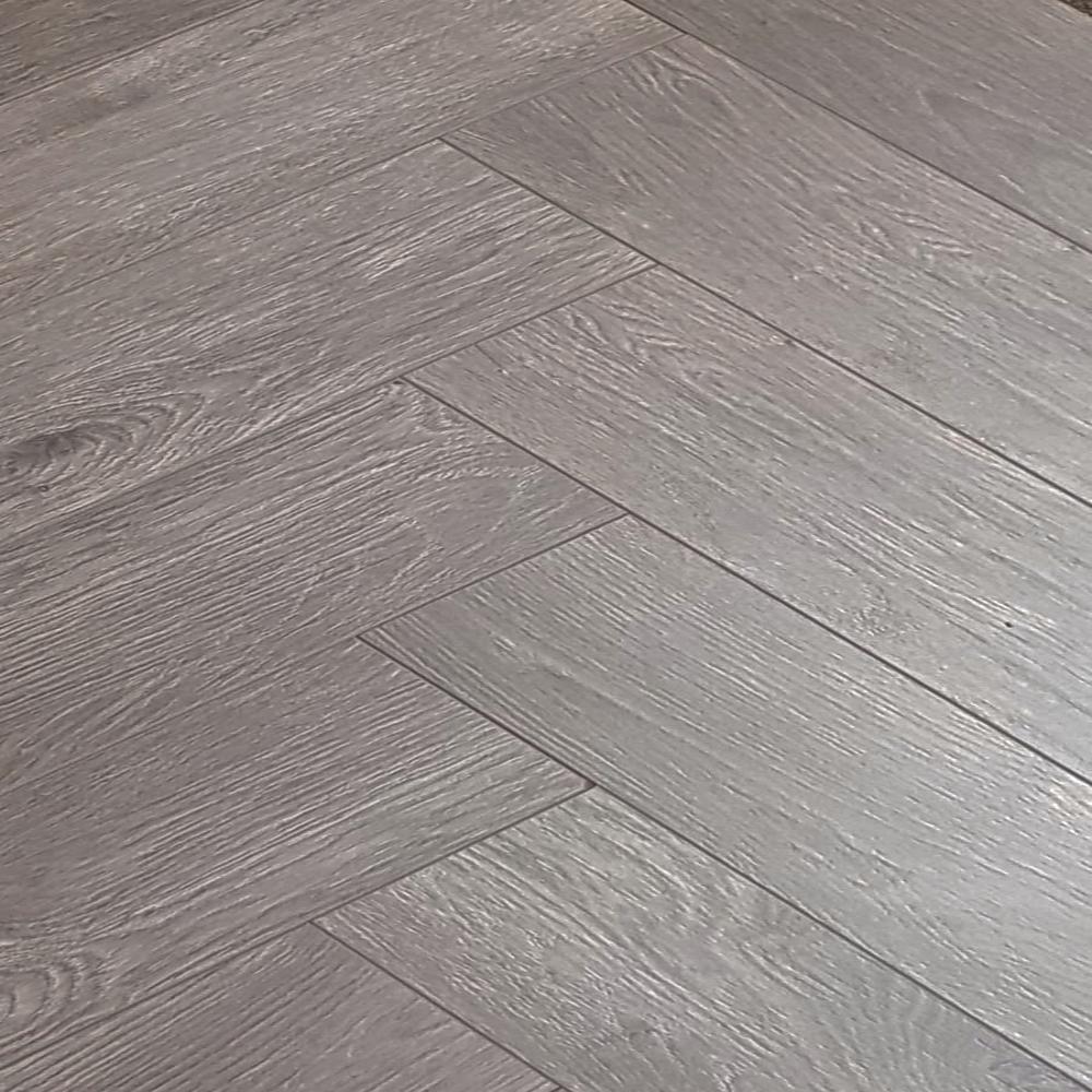 Vintage Herringbone Dark Grey Oak 12mm, Laminate Flooring Dark Grey